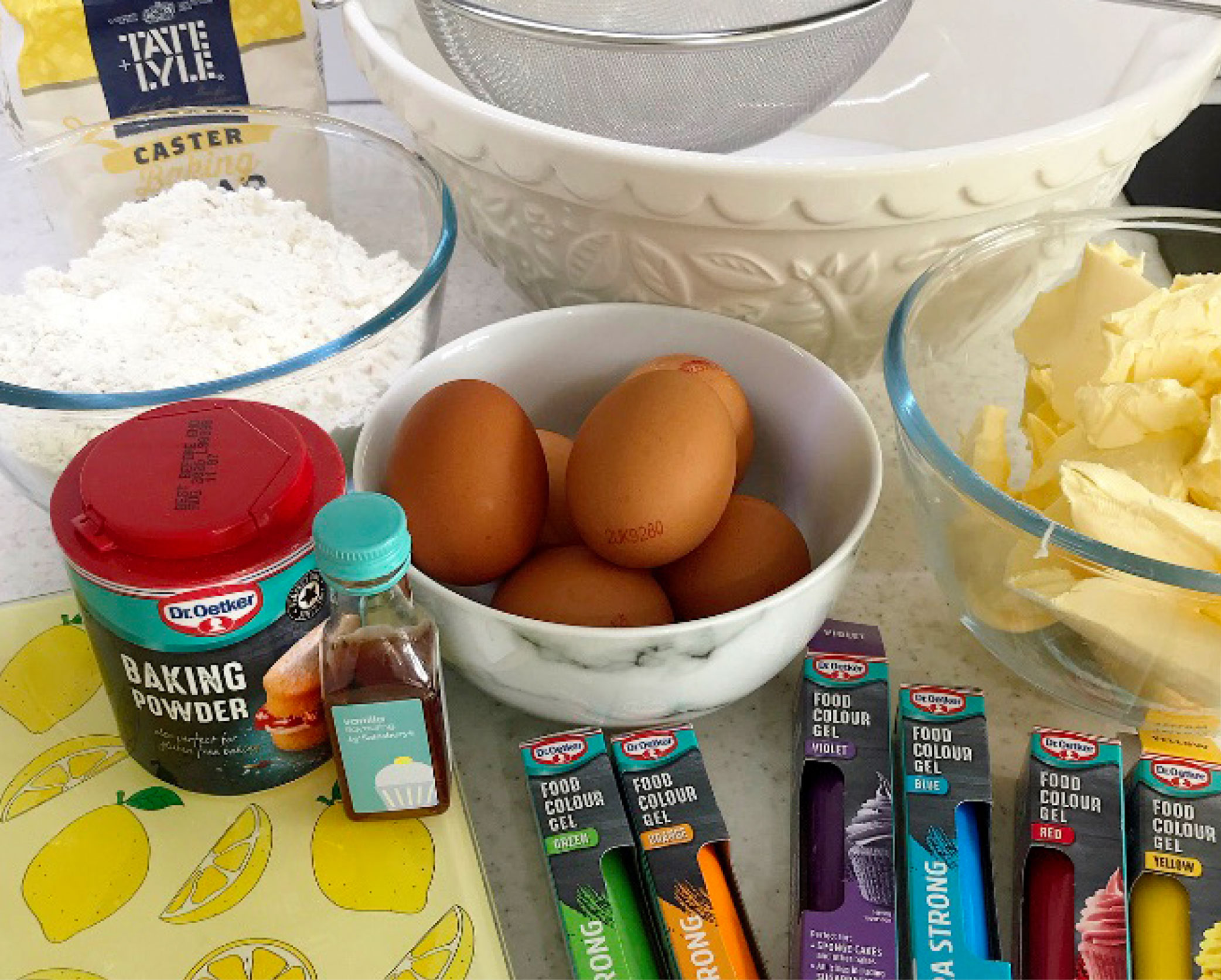 Rainbow cake ingredients